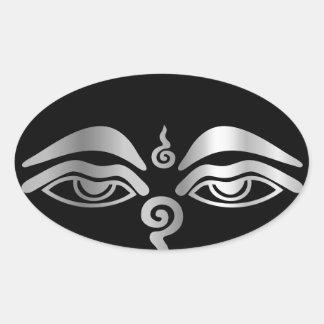 Eye of Buddha- Buddhism Symbol Oval Sticker