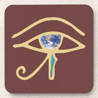 Eye Of Earth gold Beverage Coaster