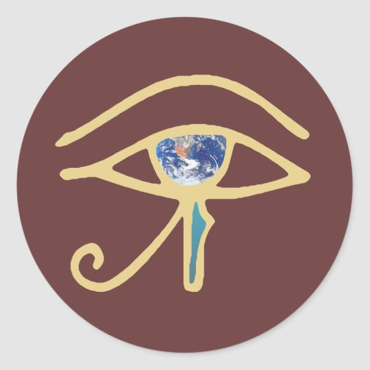 Eye Of Earth gold Classic Round Sticker