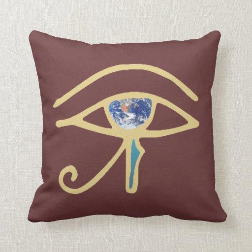 Eye Of Earth gold Throw Pillow
