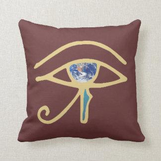 Eye Of Earth gold Throw Pillows