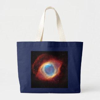 Eye of God Helix Nebula Blue Red Cosmic Clouds Large Tote Bag
