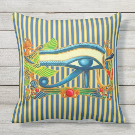 Eye of Horus and Phoenix on gold and lapis lazuli Throw Pillow