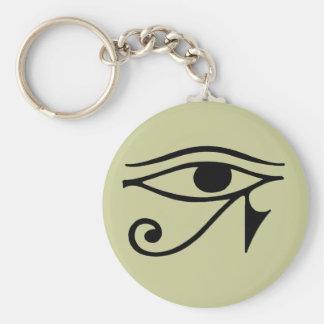 eye of horus basic round button keychain
