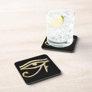 Eye of Horus Gold Beverage Coaster