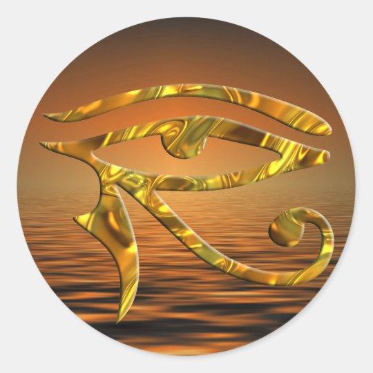 Eye Of Horus - GOLD | sunset Classic Round Sticker