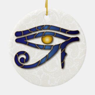 Eye Of Horus Mosaic - Deep Blue 2 - Ornament