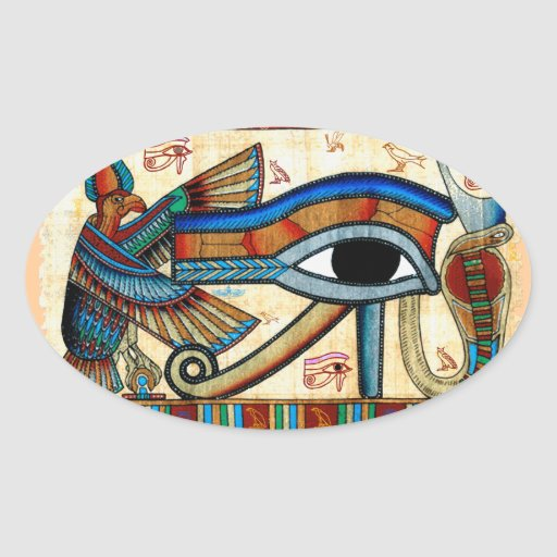 EYE OF HORUS Mystical Egyptian Art Collection Oval Stickers