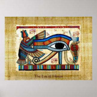 EYE OF HORUS on PAPYRUS Egyptian Art Poster