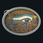 "Eye of Horus Oval Belt Buckle<br><div class=""desc"">Eye of Horus belt buckle,  full of color,  on a wood carving.</div>"