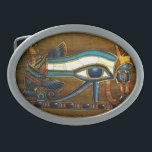"""Eye of Horus Oval Belt Buckle<br><div class=""""desc"""">Eye of Horus belt buckle,  full of color,  on a wood carving.</div>"""