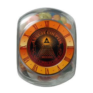Eye of Providence clock Jelly Belly Candy Jars