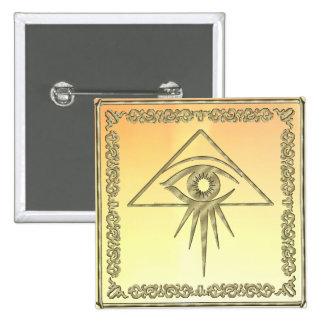 Eye of Providence Goldtone Button