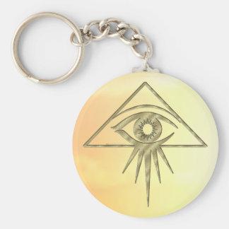 Eye of Providence Goldtone Keychain