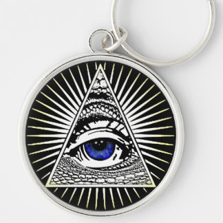 Eye of Providence Silver-Colored Round Keychain