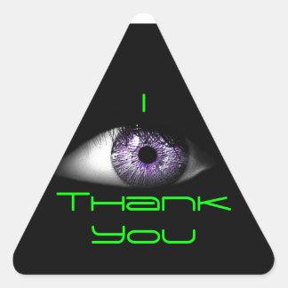 Eye of Purple Cute Cool Eyeball Design in Green Triangle Sticker