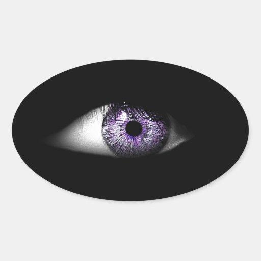 Eye of Purple Cute Cool Eyeball Design Oval Sticker