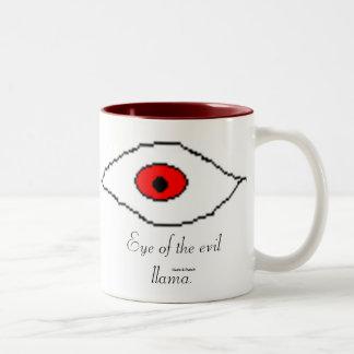 Eye of the evil llama. Two-Tone coffee mug