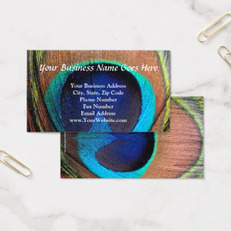 Eye of the Peacock Feather Close-Up Business Card