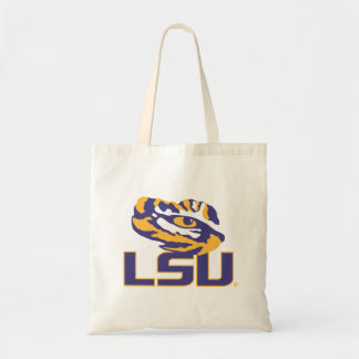 Eye of the Tiger Over LSU Gold and Purple Tote Bags