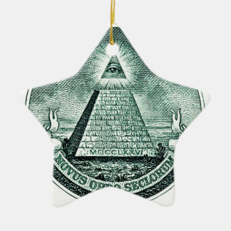 Eye On The Dollar Illuminati Pyramid Christmas Ornament
