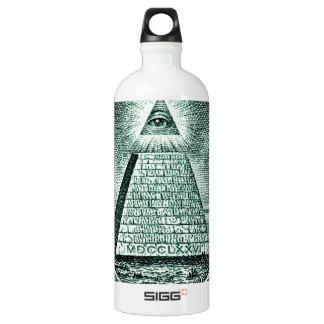 Eye On The Dollar Illuminati Pyramid Water Bottle