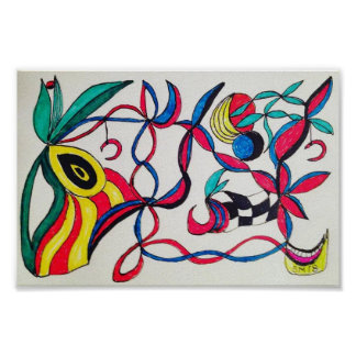 Eye on the prize abstract art drawing poster