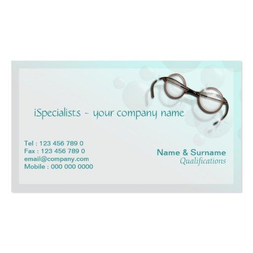 Eye optician optometry optical aqua business card template