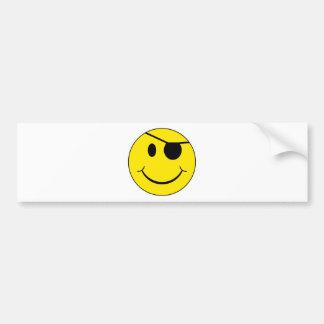 Eye Patch Smiley Face Car Bumper Sticker