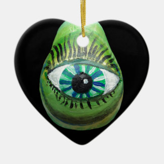 Eye Pear (grn blk pupil centered) Ceramic Ornament