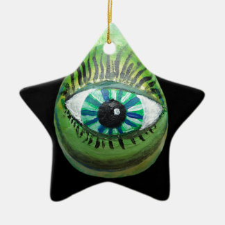 Eye Pear (grn blk pupil centered) Double-Sided Star Ceramic Christmas Ornament