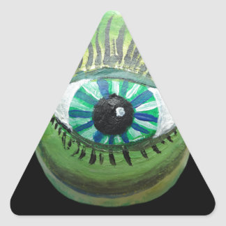 Eye Pear (grn blk pupil centered) Triangle Sticker