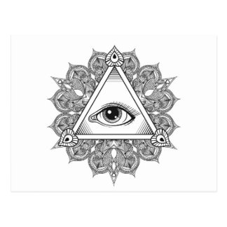 Eye Pyramid Symbol Doodle Postcard