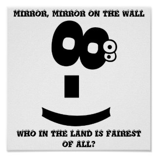 Eye-Rolling emoticon magical mirror Posters