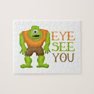 Eye See You Funny Cyclops Monster Jigsaw Puzzle