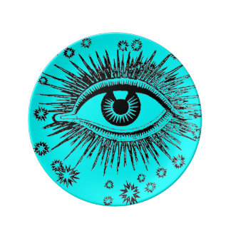 Eye See You ICU Mystic Weird Odd Graphic Art Dinner Plate