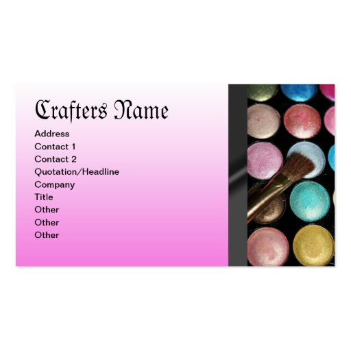 Eye Shadow Palete Make Up Artist Pink Business Card