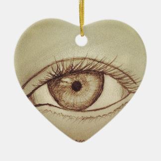 Eye Sketch Ceramic Ornament