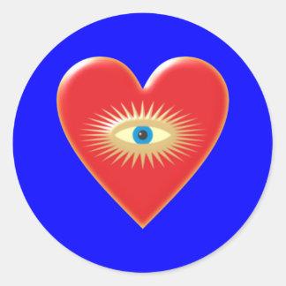 Eye star jets eye star rays heart heart classic round sticker
