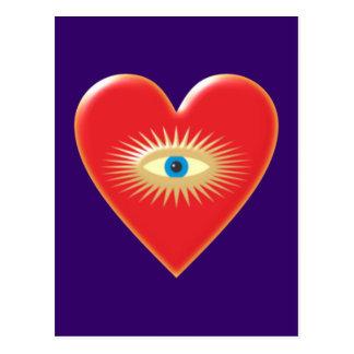 Eye star jets eye star rays heart heart post card