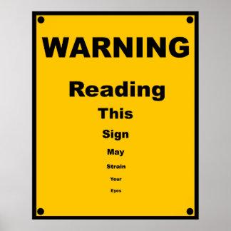 Eye Strain ~ Spoof Warning Sign