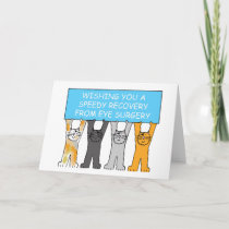 Eye surgery recovery with cartoon cats. card