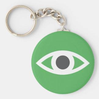 Eye symbol keychain, green and gray keychain