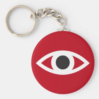 Eye symbol keychain, red with black pupil basic round button keychain