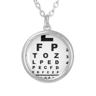Eye Test Chart Round Pendant Necklace