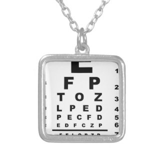 Eye Test Chart Square Pendant Necklace