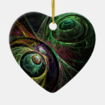 Eye to Eye Abstract Art Heart Ornament
