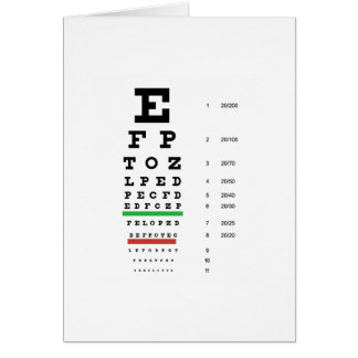 eye vision chart of Snellen for opthalmologist Card