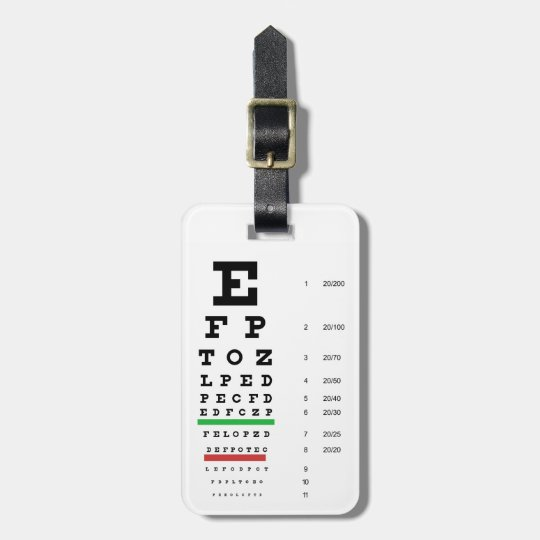 eye vision chart of Snellen for opthalmologist Luggage Tag