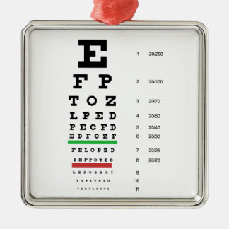 eye vision chart of Snellen for opthalmologist Metal Ornament